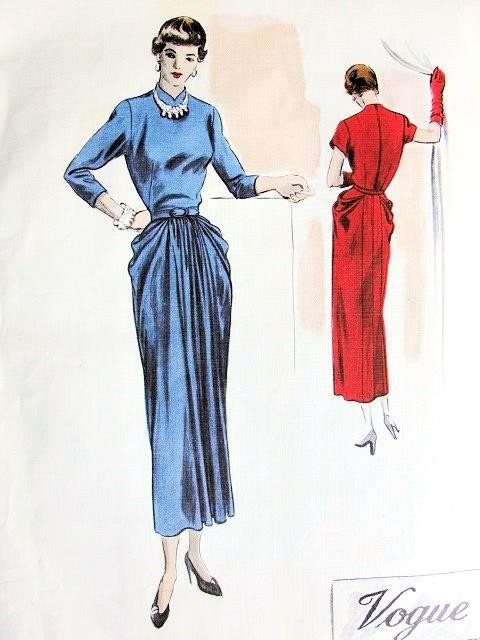 1940s BEAUTIFUL Dinner Evening Dress Pattern VOGUE Couturier Design 443 Peg Top Draped Slim Skirt Shaped Jewel Neckline Bust 32 Vintage Sewing Pattern