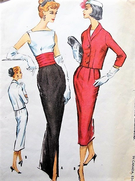 1950s FABULOUS Evening Dress, Jacket and Cummerbund Pattern McCALLS 4482 Two Lengths Slit Slim Skirt,Low V Back, Fitted Jacket Bust 34 Vintage Sewing Pattern