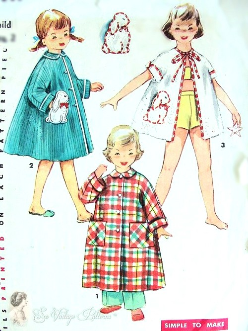 1950s SWEET Childrens Bath Robe Pattern SIMPLICITY 4503 Robe or ...