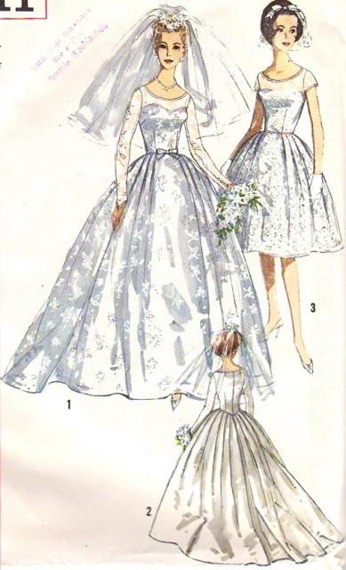 1950s Beautiful Classic Wedding Bridal Dress Pattern Simplicity