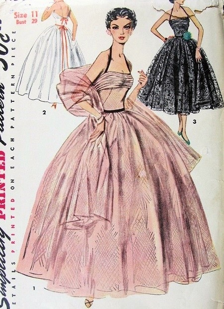 1950s Dreamy Evening Formal Gown and Stole Pattern Draped Halter ...