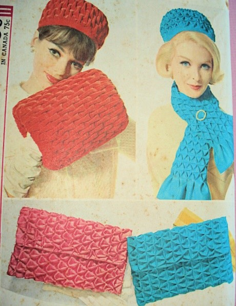 1960s Smocked Hatmuff Bag Scarf Pattern Beautiful Styles For