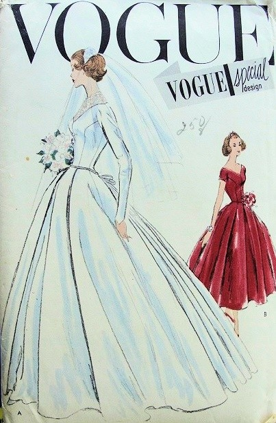 1950s beautiful wedding dress bridal gown pattern for Wedding dress patterns vintage