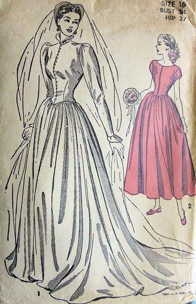 1940s Gorgeous Victorian Gothic High Neckline Wedding Gown Bridal ...