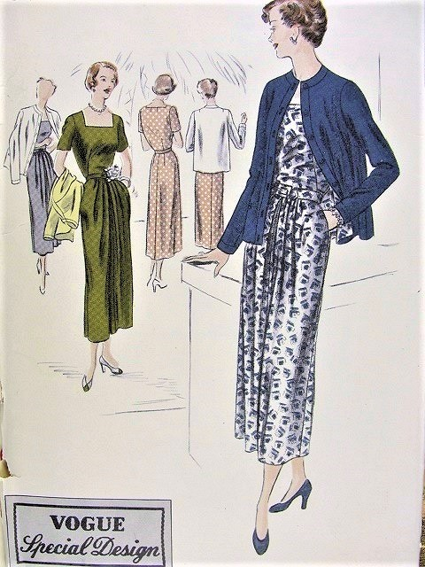 1940s STYLISH Dress and Jacket Pattern VOGUE Special Design 4947 Daytime or Dinner Dress Bust 34 Vintage Sewing Pattern