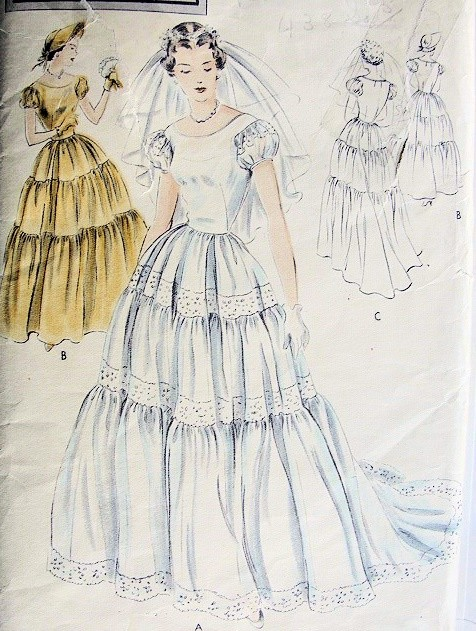 1940s Bridal Dress Wedding Gown or Bridesmaid Dress Pattern Triple ...