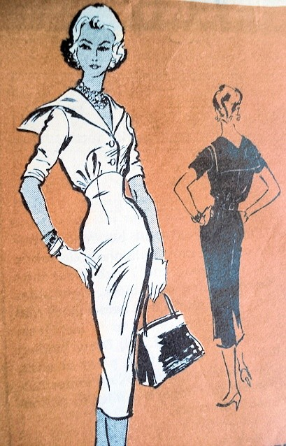 1950s PROMINENT DESIGNER  PATTERN 516 FIGURE SHOW OFF SLIM DRESS NAUTICAL SAILOR COLLAR, ANTONELLI KLEIBACKER Bust 34
