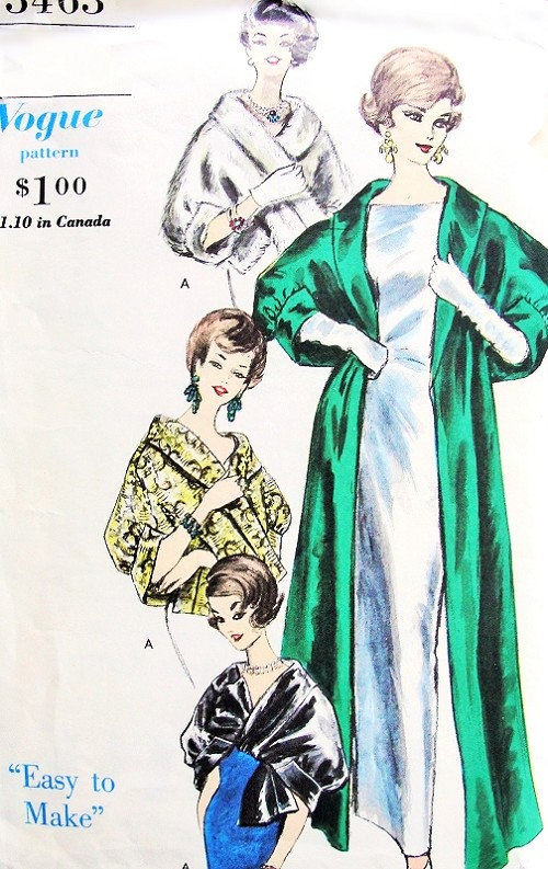 1960s ELEGANT Cape Stole Pattern VOGUE 5463 Pure Glam Cape Stole Wraps In 2 Lengths Easy To Make Vintage Sewing Pattern Size Medium