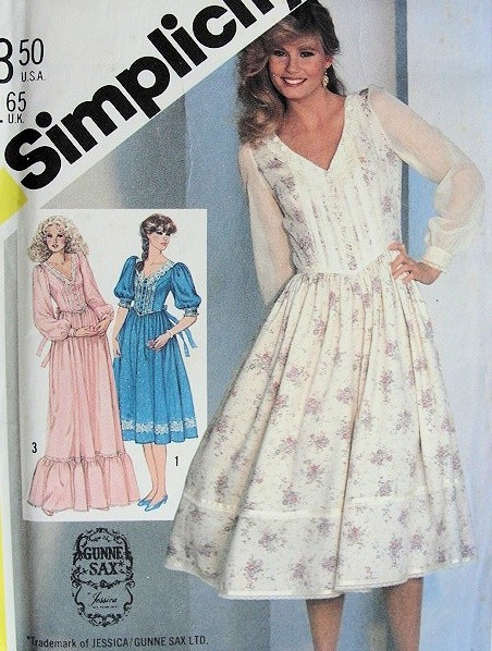 1980s GUNNE SAX Romantic Dress Pattern SIMPLICITY 5490 Jessica ...
