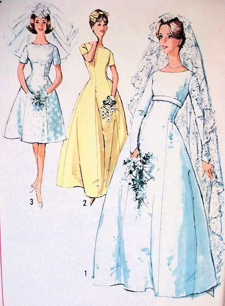 1960s Lovely Princess Line Wedding Gown Bridal Dress Pattern