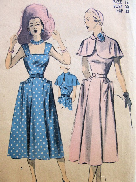 1950s PRETTY Sun Dress and Capelet Pattern ADVANCE 5511 Large Pockets and Sun Back Summer Dress, Peter Pan Collar Cape Bust 30 Vintage Sewing Pattern