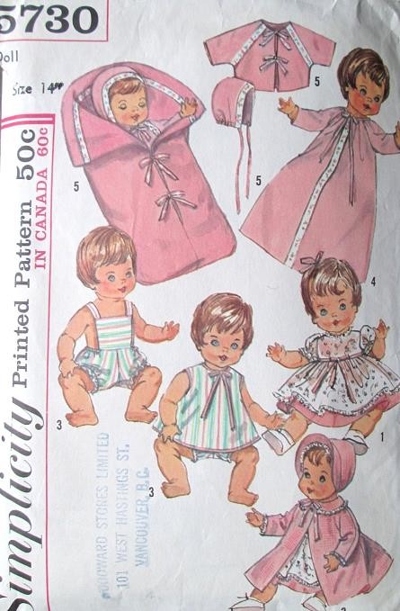 1960s Dolls Wardrobe Pattern Simplicity 5730 Vintage Sewing Pattern