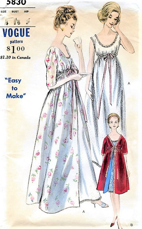 1960s GLAM Nightgown and Robe Pattern VOGUE 5830 Beautiful Empire Style Lingerie Bust 32  Easy To Make Vintage Sewing Pattern