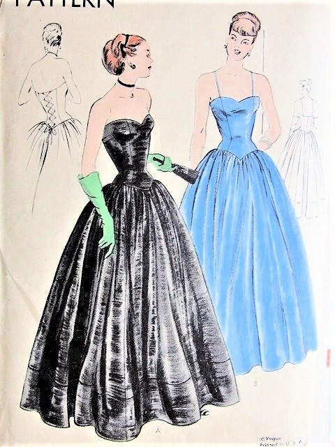 1940s GORGEOUS Big Band Era Evening Gown Pattern VOGUE 5915 Stunning Corset Style Lace Up Back, Sweetheart Neckline, Shaped Elongated Waist Bust 32 Vintage Sewing Pattern