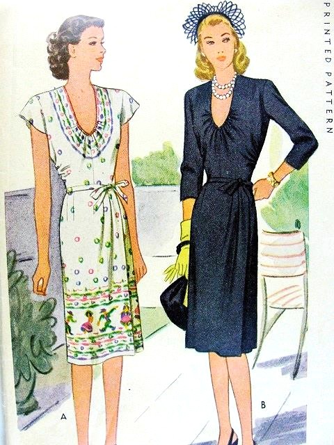 1940s BEAUTIFUL Day or Cocktail Dress Pattern McCALL 5950 Low U Shape Neckline, Side Wrap Skirt Style Classy Design Bust 36 Vintage Sewing Pattern