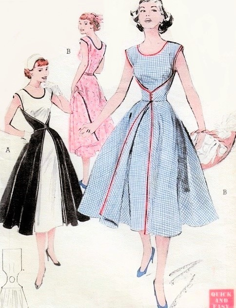 1950s RARE Walk Away Dress Pattern BUTTERICK 6015 Vintage Sewing Pattern Start Sewing In Morning Wear It In Afternoon Super Easy and Quick Pattern Bust 34