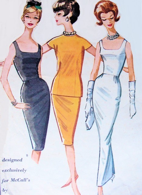 1960s PAULINE TRIGERE Slim Evening Dress and Jacket Pattern McCalls ...