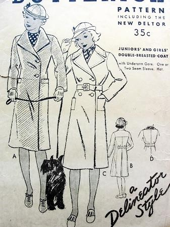 1930S VINTAGE GIRLS COAT PATTERN BUTTERICK 6048 Vintage Sewing Pattern