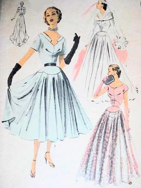 1950s BEAUTIFUL WEDDING GOWN BRIDAL DRESS PATTERN 3 NECKLINES ...