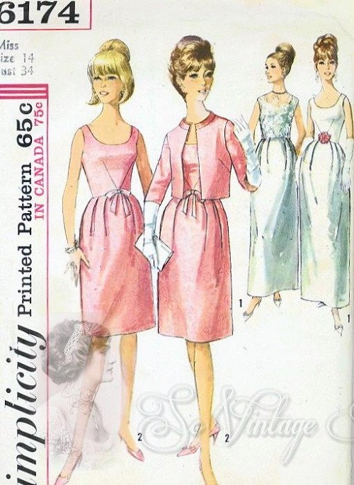 1960s Lovely Cocktail Dress or Evening Gown With Jacket Pattern ...