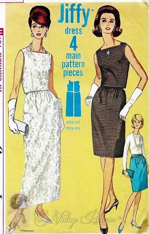 b096c37d65bb43 1960s Classy 2 PC Evening Dress Pattern Square Neckline,Waist Length Blouse,  Slim Skirt Formal Ankle ...