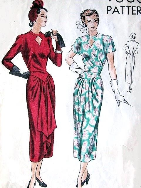 1940s VOGUE PATTERN 6292 STUNNING DRESS KEYHOLE NECKLINE CASCADING DRAPED SKIRT FILM NOIR STYLE