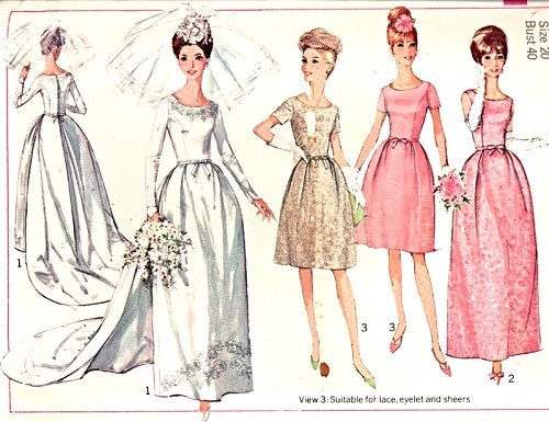 60s Bridal Gown Wedding Bridesmaid Dress Pattern