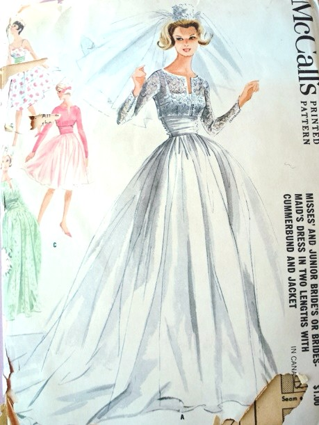 1960s Dreamy Wedding Gown Bridal Bridesmaid Dress Pattern 2 Lengths With Cummerbund And Jacket McCalls 6382