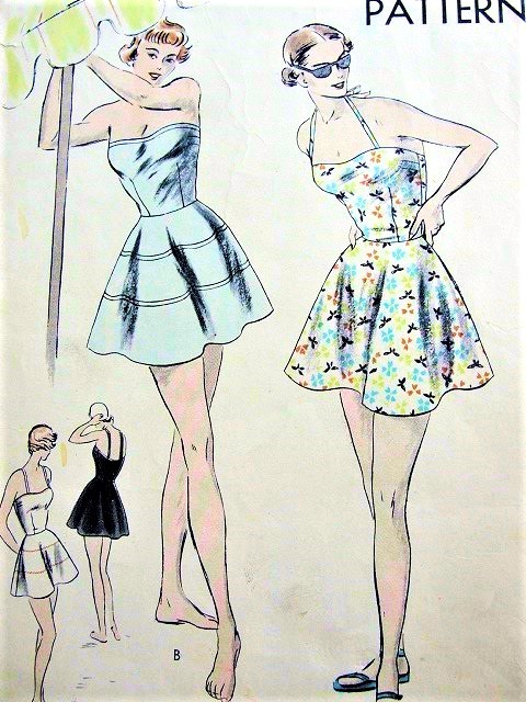 1940s FABULOUS Bathing Suit Swimsuit Pattern VOGUE 6445 Flattering Circular Skirt, Strapless or Halter Top Swimming Suit Bust 32 Vintage Beach Wear Sewing Pattern