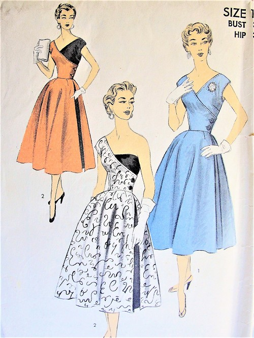 ea837b930ed 1950s Rare Advance 6446 Vintage Sewing Pattern Dramatic Half and Half Rockabilly  Dress Crossover Bodice Strapless ...