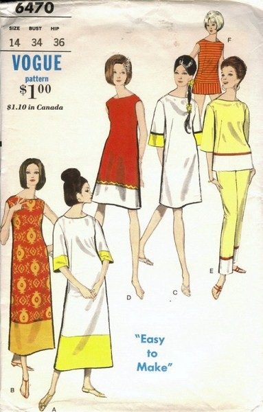 1960s FAB Weekend Wear Pattern VOGUE 6470 Beach Dress,Overblouse,Beach Coverup, Pants Resort Wear Bust 36 Easy To Make Vintage Sewing Pattern