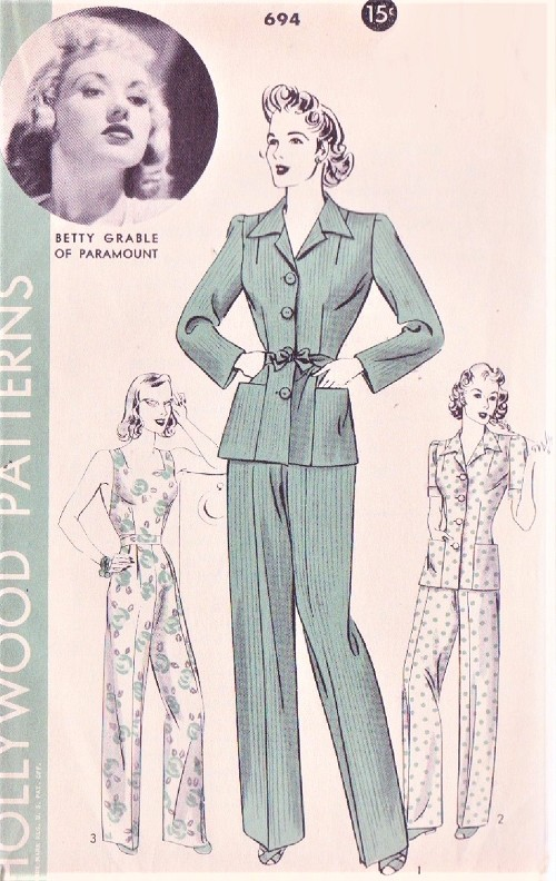 40s Pants Suit Coveralls Pattern Hollywood 694 Betty Grable Sun Jumpsuit Overalls Pants Jacket WW II Era Bust 36 Vintage Sewing Pattern