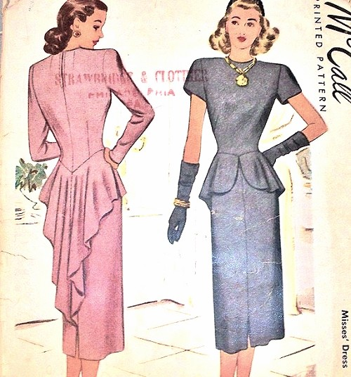 1940s Mccall Pattern 7019 Tail Dinner Dress Striking Swallow Back Peplum Totally Glam Film Noir