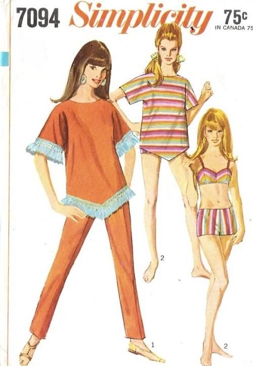 1960s FAB Beach Wear Bathing Suit Pattern 2 PC Swimsuit, Slim Leg ...