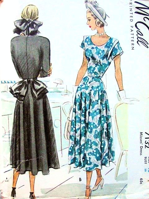 1940s LOVELY Day or Party Dress Pattern McCALL 7132 Beautiful Bias ...