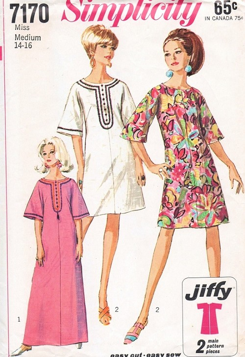 1960s Mod Dress Or Caftan Pattern Simplicity 7170 Easy To Sew Jiffy