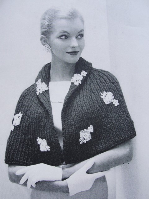 Instant Download Pattern 1950s Elegant Cape Stole Wrap Pdf Knitting