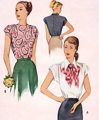 1940s Beautiful Blouse Pattern Film Noir Styles McCall 7242 Vintage ...