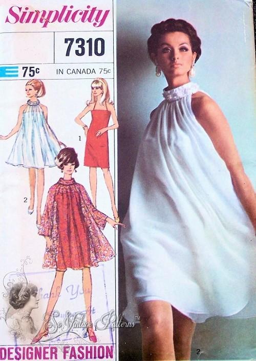 1960s FAB Mod Evening Cocktail Dress Pattern SIMPLICITY Designer ...