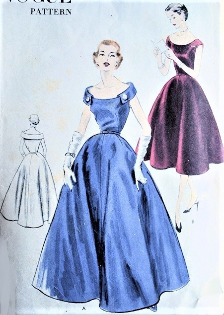 1950s GLAMOROUS Evening Gown or Cocktail Party Dress Pattern VOGUE 7512 Stunning Design Bust 32 Vintage Sewing Pattern