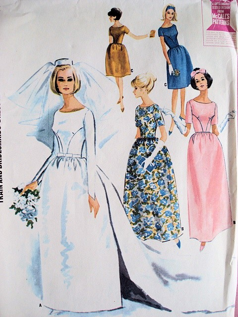 1960s Audrey Style Wedding Gown Bridal Bridesmaid Dress Pattern ...