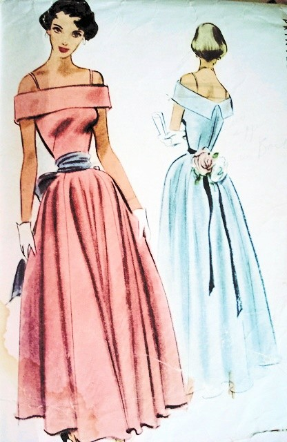 1940s off shoulders evening gown pattern beautiful style for 1940s wedding dress patterns
