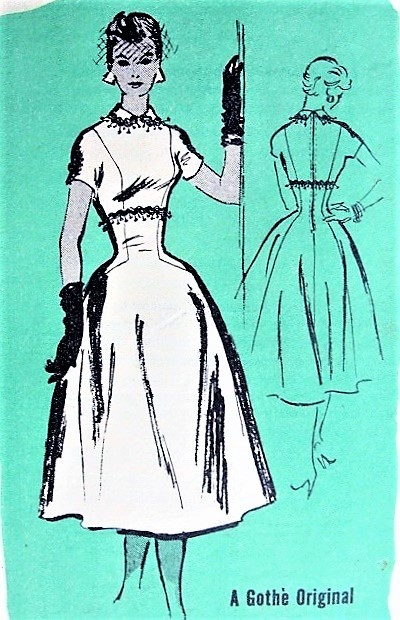 1950s BEAUTIFUL Dinner Cocktail Dress Pattern PROMINENT DESIGNER 764 Gothe Original EMPIRE Figure Show Off Dress Bust 32 Vintage Sewing Pattern FACTORY FOLDED