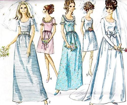 1960s LOVELY A Line Wedding Dress, Bridesmaids Dress Pattern ...