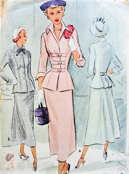 1940s BEAUTIFUL Suit Dress Pattern McCALL 7697 Figure Flattering Fitted Jacket, Wing Collar, Nip In Waist, Lovely Slim Front Skirt Full Back Bust 32 Vintage Sewing Pattern