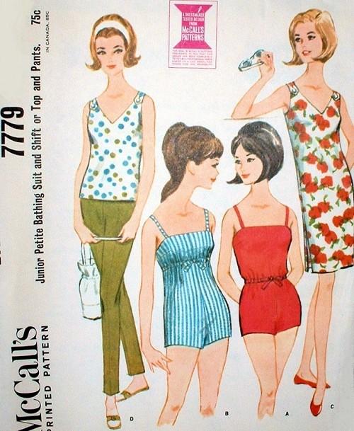 60s Barbie Style Bathing Suit Beach Wear Pattern McCalls 7779 ...