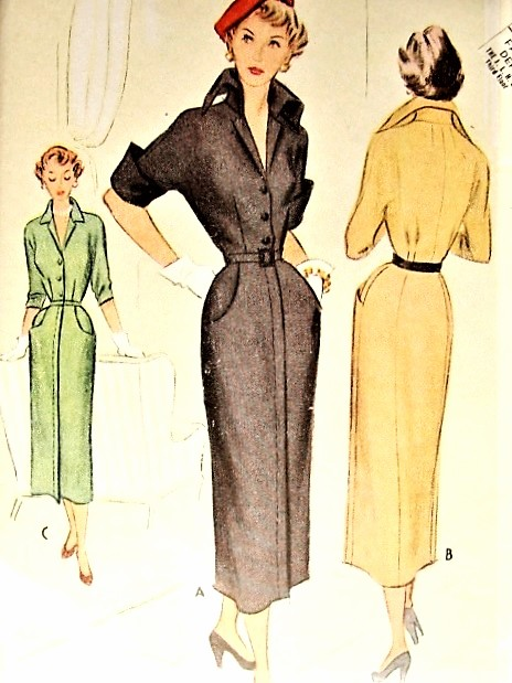 1940s DRAMATIC Wing Collar Slim Dress Pattern McCALL 7860 Daytime or After 5 Dress Bust 32 Vintage Sewing Pattern