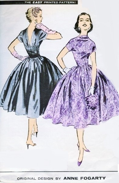 1950s ANNE FOGARTY Evening Party Dress Pattern ADVANCE American Designer 7914 Vintage Sewing Pattern Very Full Voluminous Skirt Princess Seam Bodice Fit and Flare Style Vintage Sewing Pattern UNCUT