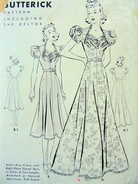 1930s  LOVELY DRAPED BODICE FLARED EVENING GOWN BUTTERICK 7935