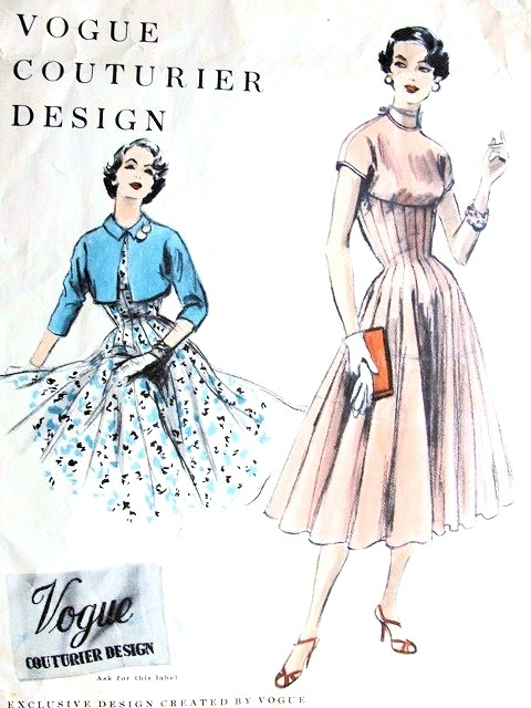 1950s BEAUTIFUL Dress and Bolero Pattern VOGUE Couturier Design 794 ...